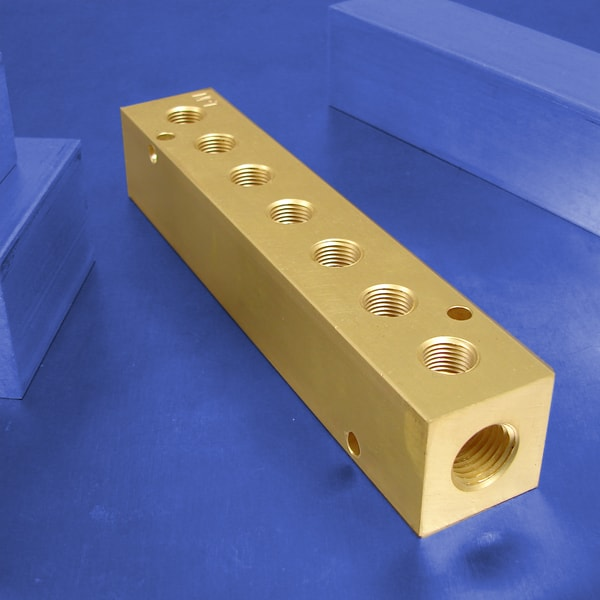 7-Station Brass Pneumatic Manifolds | Brass 7-Station Manifolds
