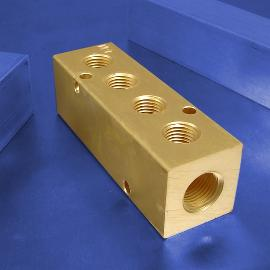 4-Station Brass Pneumatic Manifolds | Brass 4-Station Manifolds