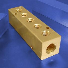 5-Station Brass Pneumatic Manifolds | Brass 5-Station Manifolds
